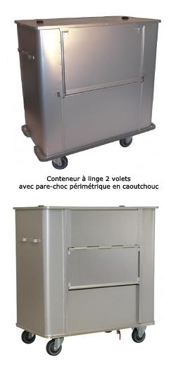 Chariot conteneur à linge sale - parois lisses, fond fixe, 1075L