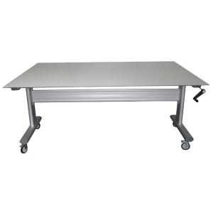 Table ergonomique inox / bois à hauteur réglable- Manuelle